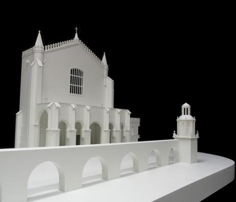 Maquetas: Igreja de São Francisco - Fachada poente, troço do aqueduto e caixa demolidos em 1873, Évora (figura 1)