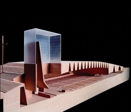 Maquetas: Santuário de Fátima - Assembleia Coberta e Presbitério: Corte longitudinal (figura 1)
